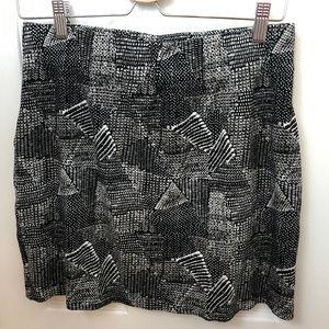 Madewell Black & White Geometric Print Skirt. L